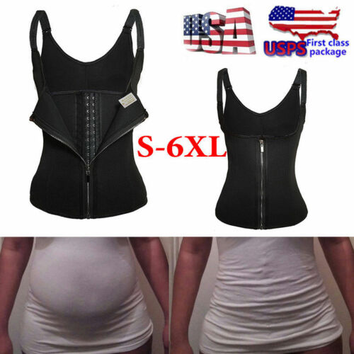 Women Body Shaper Vest Waist Trainer Underbust Zipper Slimming Cincher Bodysuit