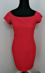 Brat-Star-Red-Bodycon-Fitted-Pencil-Cap-Sleeve-Dress-Size-L