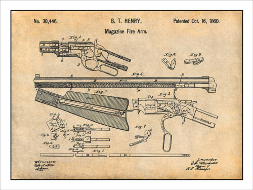 1860 Winchester Repeating Rifle Patent Print Art Drawing Poster