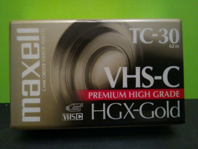 Maxell VHS-C TC-30 Premium High Grade HGX-Gold Camcorder Video Cassette NEW