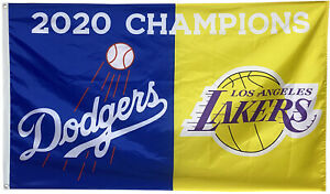 Los Angeles Lakers & Dodgers 2020 champions flag 3x5ft ...