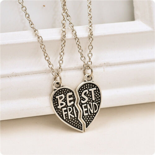 Choker Necklace Heart New Pieces Broken Two Best Friend Friendship Necklace J/&S
