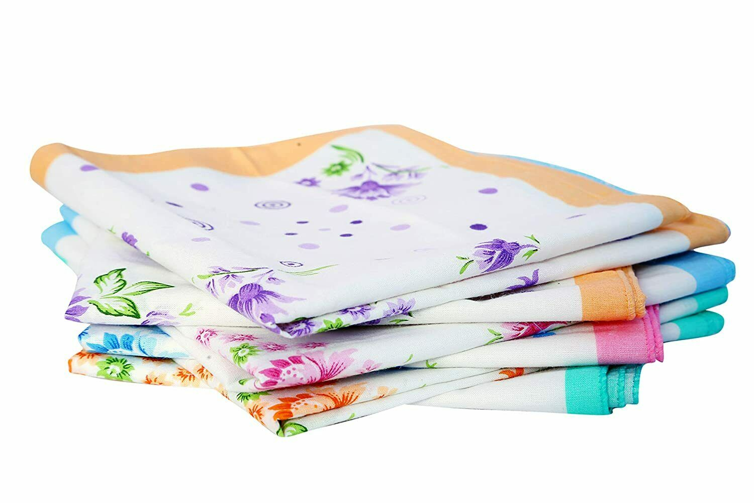 100% Pure Cotton Handkerchief For Women- Pack of 12 Pcs (ASSORTED)