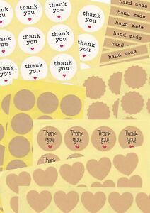 Geschenkaufkleber-bunt-rund-eckig-Kraftpapier-Thank-you-Handmade-Herzen