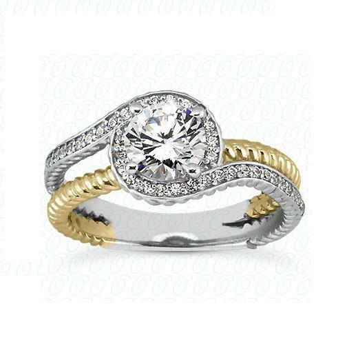 14k Yellow and White gold Natural Ideal Diamond Engagement Ring Setting Jewelry
