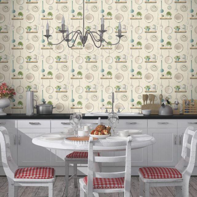 Kitchen Utensils Vinyl Wallpaper Rolls Cream Rasch 307108 For Sale