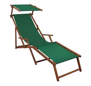 Details zu Liegestuhl grün Gartenliege Holz Sonnenliege Buche Fußteil  Sonnendach 10-304 FS
