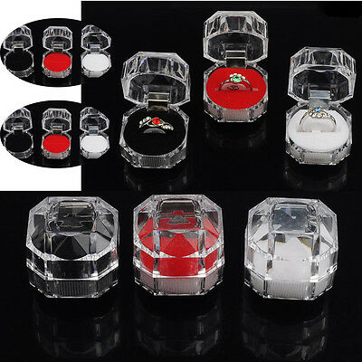 New 30x Acrylic Ring Display Boxes Storage Organizer Package Case Transparent H