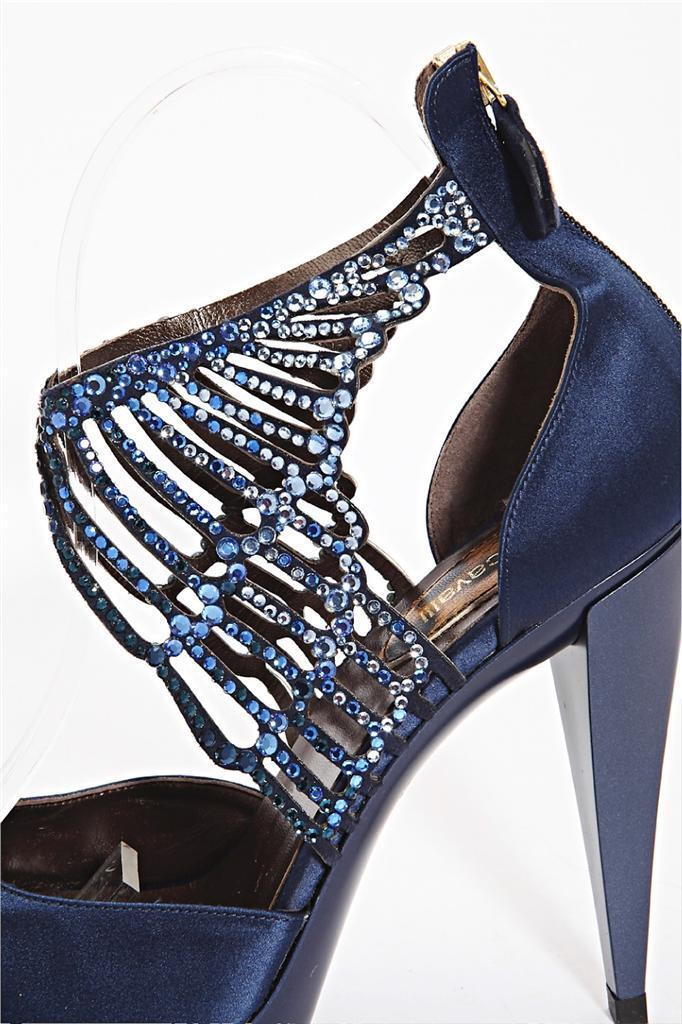 ROBERTO CAVALLI damen Blau Satin Jeweled Ankle High Heel Heel Heel Open-Toe Pump 9-39 NEW 8afff0