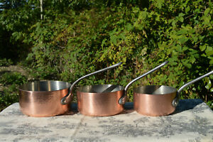Three-Copper-Pans-3mm-3-1mm-French-Vintage-Nickel-Lined-14cm-16cm-and-18cm