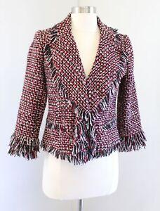 White-House-Black-Market-Red-Tweed-Ruffle-Fringe-Jacket-Blazer-Sz-4-Career-Wool