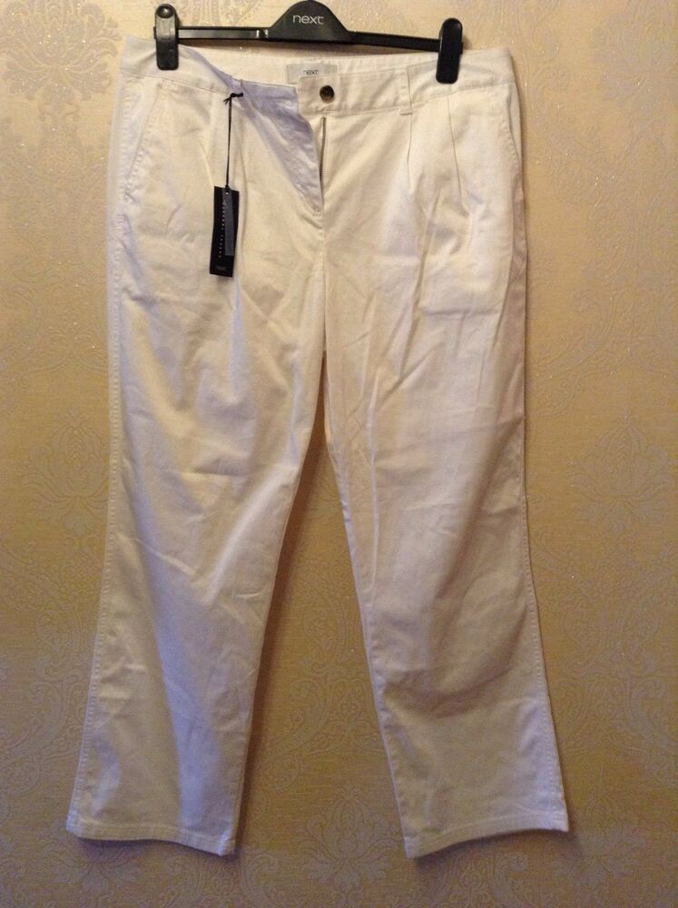 Bnwt ❤ Next ❤ Taille 14 Reg Femmes Blanc Coton/Élasthanne Casual Pantalon Nouveau-ze 14 Reg Ladies White Cotton / Elastane Casual Trousers New