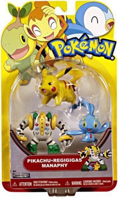 Heartgold & Soulsilver Series 18 Pikachu, Regigigas & Manaphy Figure 3-Pack