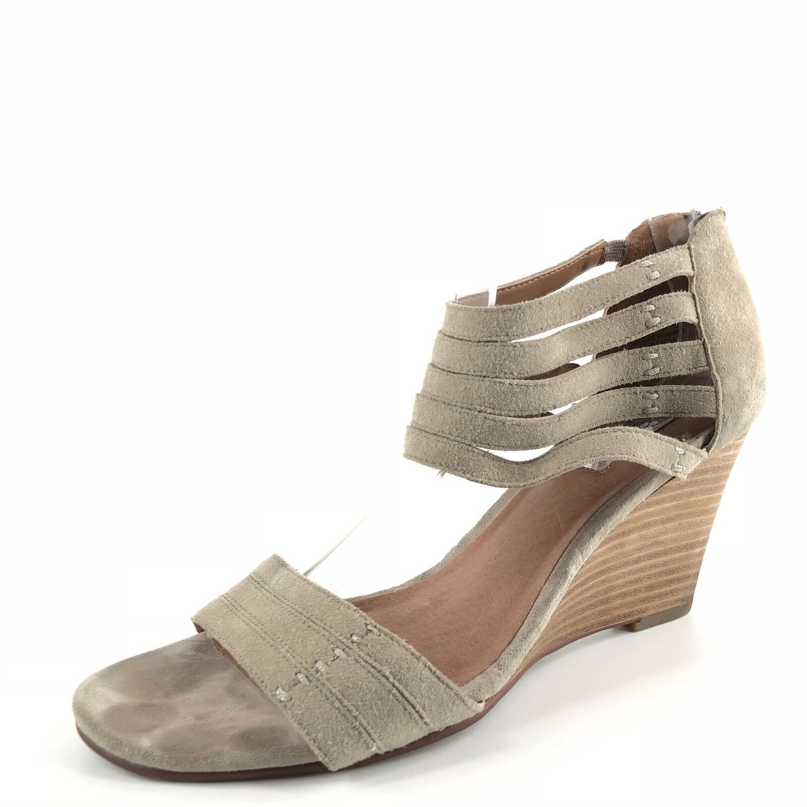 Halogen Kyla Taupe Leather Suede Sandal Wedges Women's Size 7.5 M