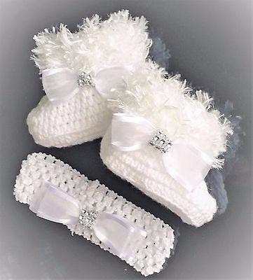 Muñeca Reborn Botines de ganchillo Blanco + Diadema Romaní Bling Diamante Zapatos De Punto