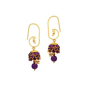 Details About Purple Indian Bollywood Fashion Style Gold Tone Pearl Stud Earrings Bali Jhumki