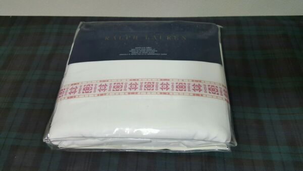 $215 Ralph Lauren Corral Canyon One Queen Flat Sheet (white-pink Latigo)