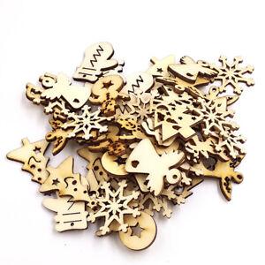 CG-KF-50x-Christmas-Tree-Snowman-Snowflake-Hanging-Ornament-Wood-Craft-Xmas-De