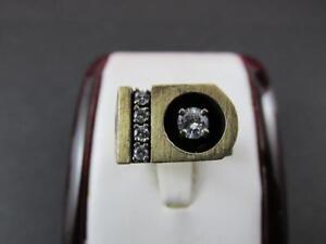 14k-Solid-Yellow-Gold-Diamond-Shadow-Box-Men-039-s-Ring-1970-039-s-Circa-Very-Unique