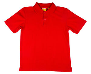New-in-Pack-STUBBIES-Red-Unisex-School-Wear-Short-Sleeve-Polo-Shirt-Size-4