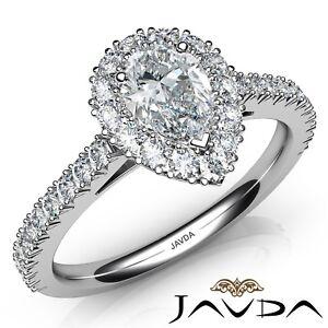 1-82ctw-Frances-Corte-Halo-Pave-Pera-Anillo-de-Compromiso-Diamante-GIA-E-SI1-Oro