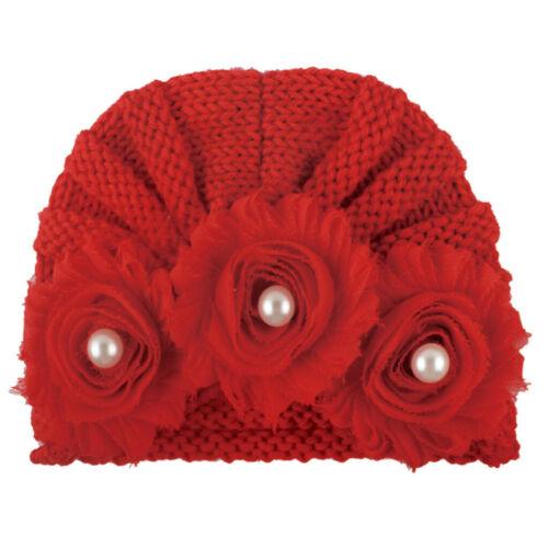Infant Baby Girl Soft Hat  Flower Bead Cap Newborn Beanie Knitted Headband Cap