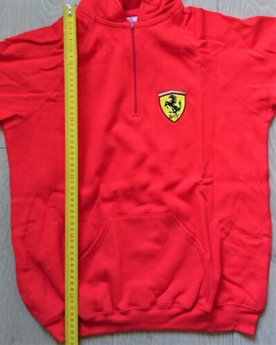 Ferrari Children/'s Red Hooded Sweater with Half-Zip and a pocket on the front