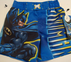 Batman or Lego Batman Boys UV50 Swim Trunks NWT Size 4 or  5  Black or Blue