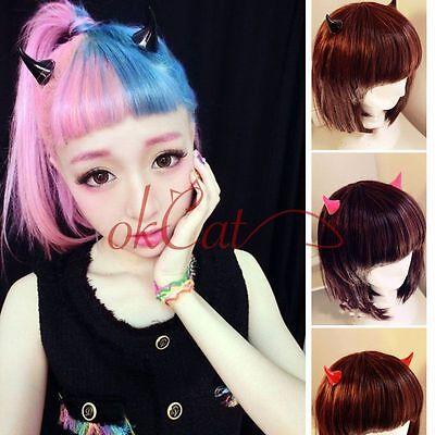 1Pair Horror Gothic Cosplay Costume Small Demon OX Horn Halloween Hair Clip MYAU