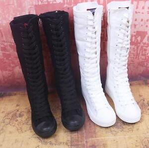NEU-Stiefel-Damenschuhe-Boots-Schnuerschuh-flach-Canvas-leinen-Segeltuch