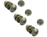 3 Sets Of Entry Door Lock Sets ,antique Brass Oval Knob,all Locks Keyed Alike