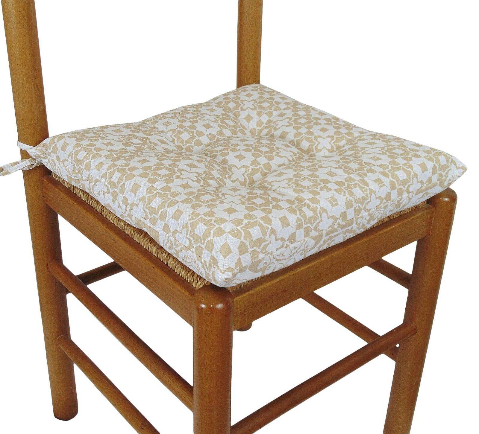Dettagli su 6 cuscini sedia COPRISEDIA Copriseduta con LACCI 6 pezzi Vesto Beige
