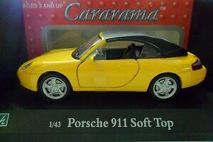CARARAMA-1-43-AUTO-DIE-CAST-PORSCHE-911-SOFT-TOP-GIALLO-ART-250
