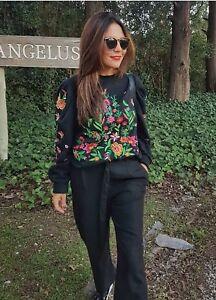 taglia Maglione Ss2017 L nero ricamato Zara Maglione esaurito Bloggers qwX5xzzS
