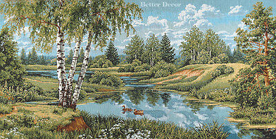"""38/"""" WALL JACQUARD WOVEN TAPESTRY Birches near Pond FOREST LANDSCAPE DUCK PICTURE"""