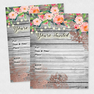 Details About Rustic Bridal Shower Invitation Country Invite Tea Birthday Invites 35