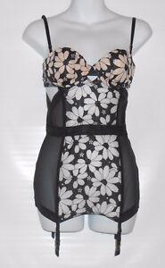$68 Victoria/'s Secret Black Mesh Fitted Lace Corset 34B Medium New