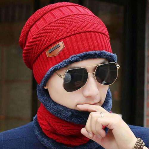 Warme Wintermütze Herren Strickmütze Fleece  und Loop Schal Mütze Skimütze Hüte
