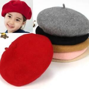 Hot Sale Cute Children Wool Berets Baby Kids Spring Autumn Winter Hats Girls Fashion Cap Childrens Painter Cap French Cap Girl's Hats Apparel Accessories