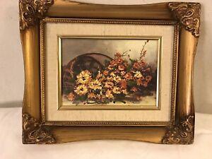 Vintage-Painting-Oil-Board-Floral-9-034-x11-034-Ornate-Gild-Frame-SEE-12pix-MAKE-OFFER