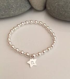 Image Is Loading Sterling Silver Stretch Bracelet Personalised Star Charm Letter