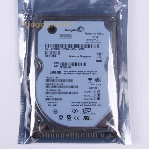 "1 of 1 - Work Seagate ST9408114A 40 GB 5400 RPM 2.5"" PATA/IDE 8 MB HDD Hard Disk Drives"