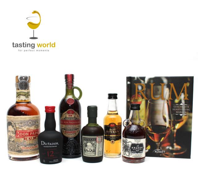 PREMIUM RUM TASTING GESCHENK SET: 6 Rum Miniaturen (0,5l)  + Buch für Einsteiger