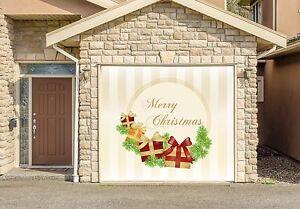 Christmas decor single garage door cover banner outdoor home