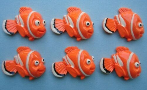 20 Orange Clown Fish Resin Cabochon Flatback Button//Bead//Craft//Nemo//Cartoon B20