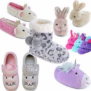 Girls-Kids-Bootee-Ballet-Novelty-Slippers-Children-039-s-Unicorn-Soft-3D-Sizes-9-3