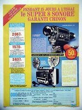 PUBLICITE-ADVERTISING :  CHINON 606S Caméra Super 8  1976 Projecteur C8000