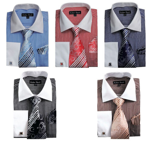 Men/'s Striped Formal Dress Shirt w// French Cuff Links,Tie and Hanky #631