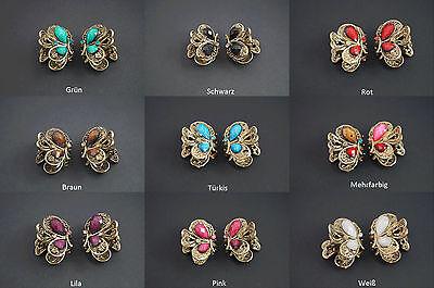 3D Strass Perlen Schmetterling Haarklammer Bronze Antikstil Haarspange Altgold *