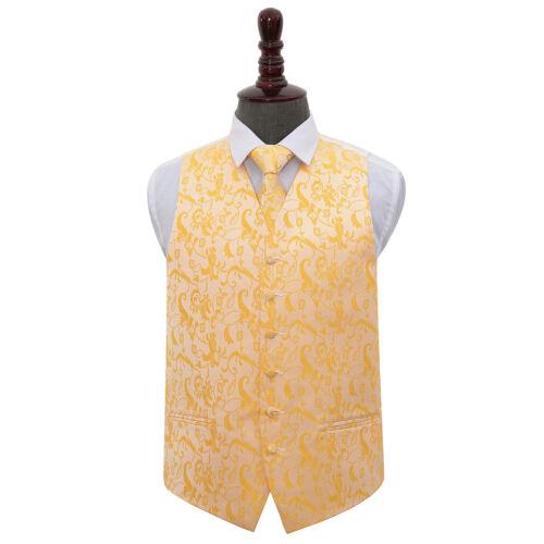 DQT Woven Floral Gold Mens Wedding Waistcoat /& Tie Set S-5XL